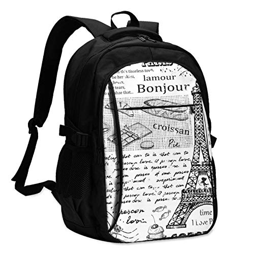 Famous Eiffel Tower Paris Travel Laptop Backpack with USB Charging Port Multifunction Work School Bag