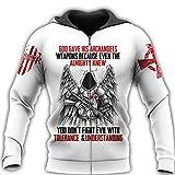 TN-KENSLY Caballeros Templarios Jesús Dios Guardia Cavalier Otoño Pullover Streetwear Impresión 3D Hombres/Mujeres Cremallera/Sudaderas Zip M