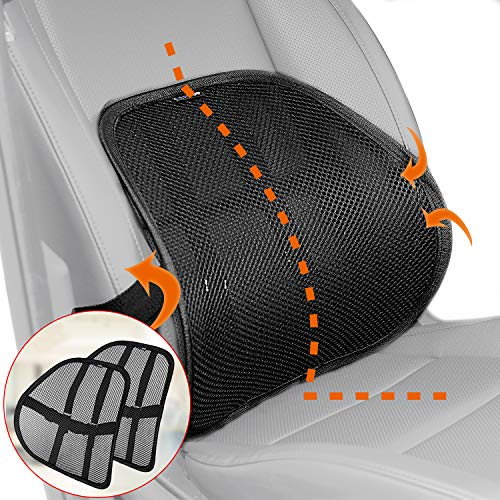 Lumbar Support, Cartop Mesh Back Cushion 2 Pack Lower Back Support, Double Mesh Lumbar Cushion Air Flow Breathable Back Support Cushion - Suitable for Office Chair Home Car (2-Pack)