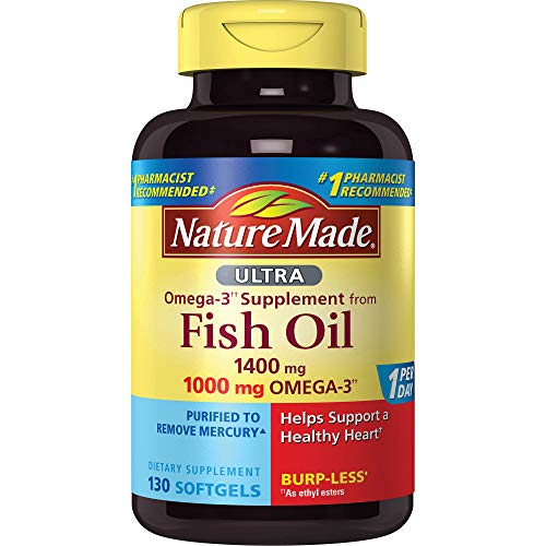 Nature Made Ultra Omega-3 Burpless Fish Oil 1400 mg Softgels w. Omega 3 1000 mg, 130 Count