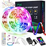 Led Strip Lights 32.8ft with Bluetooth Music Mobile APP Control, Alinget Led Strip Lights with 24 Keys IR Remote Control LED Lights for Bedroom Home Party Kitchen