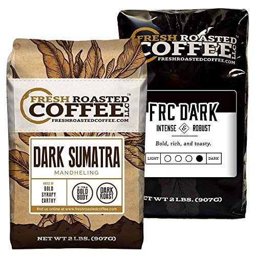 Fresh Roasted Coffee LLC, Dark Roast Bundle: Dark Sumatra Mandheling / Dark Roast Blend, Whole Bean, 2 Pound Bags