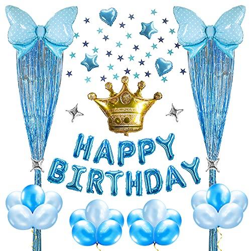 Decoraciones para Fiesta de Cumpleaños, kits de Color Azul para Niños, Globos de Helio de HAPPY BIRTHDAY, Estandarte de Globos con Lazo en Forma de Corazón y Cortinas para Niños Adolescentes Hombres