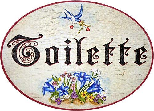 Kaltner Präsente-Placa de madera envejecida para puerta, con inscripción Toilette (18x 13cm)
