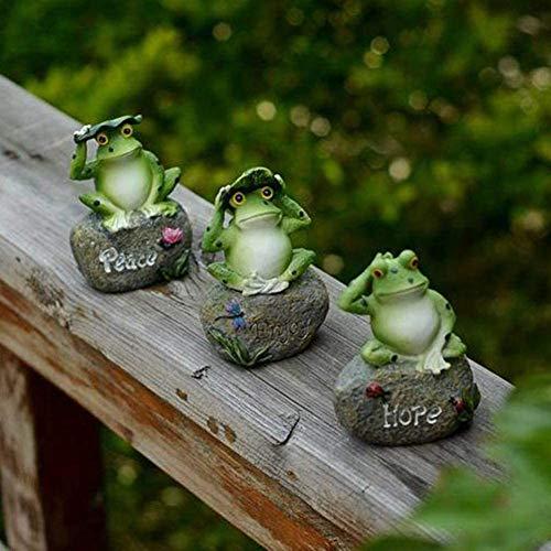 Statuen Frosch Frösche Kleine Schöne Dekorationen Sitzen auf Stein-Skulptur Garten Außenpool Tank Aquarium Zierde Dekoration,3 only