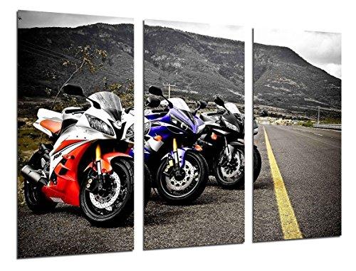Cuadro Fotográfico Motos de Carreras Yamaha, Carretera Tamaño total: 97 x 62 cm XXL, Multicolor