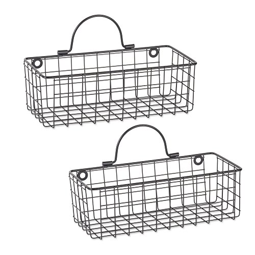 DII Z02023 Rustic Farmhouse Vintage Hanging Wall Mounted Wire Metal Basket Set of 2 Small Black