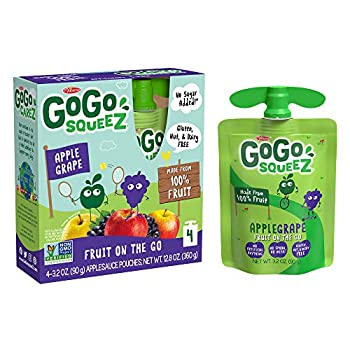GoGo squeeZ Applesauce Apple Grape 3.2 Ounce  48 Pouches  Gluten Free Vegan Friendly Unsweetened Applesauce Recloseable BPA Free Pouches
