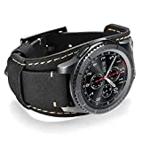Coobes Compatible with Samsung Galaxy Watch 46mm/Gear S3 Frontier/Classic Bands, 22mm Genuine Leather Cuff Bracelet Replacement Strap with Stainless Steel Buckle for Men Women (Black)