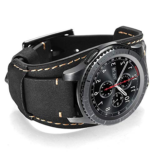 CooBES Kompatibel mit Samsung Galaxy Watch 42mm/Active 40mm/Active 2 40mm 44mm/Gear S2 Classic/Gear Sport Armband, 20mm Echtes Leder Uhrenarmband Cuff Ersatz Armbänder (20mm, Schwarz)