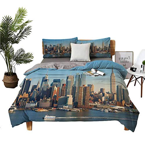 Urban 3-Piece Set of Microfiber Comfort Sheets New York City Skyline Over Hudson River Empire State Building Boats and Skyscrapers Super Soft Anti-Wrinkle Breathable Twin(68''x90'') 262