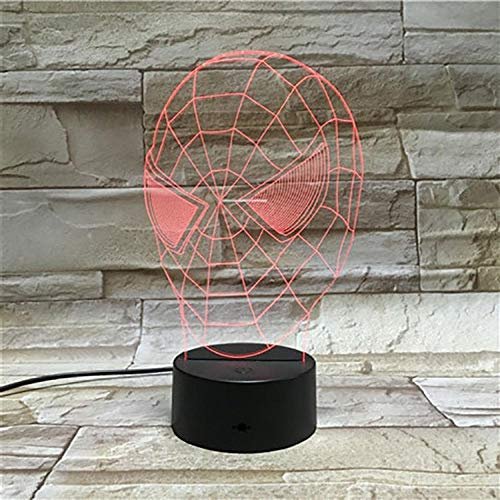 ZZFGXX Nachtlampje met masker, Spiderman, licht, nachtlampje, 7 kleuren, licht voor kinderen/magische lantaarn/cadeau-licht voor nieuwjaar/slaaplicht/sfeerlicht