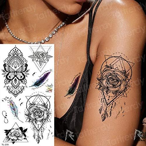 tatuajes a prueba de agua pegatinas bikini verano tatuaje zorro alces tatuajes agua color flores tatoo chicas espalda brazo cuerpo arte en tatuajes de TL239