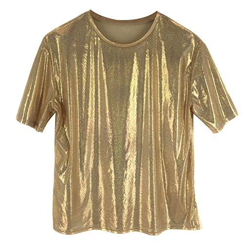 Huaheng Womens Casual T-shirt kleuren Reflecterende bedrukte korte mouw Hip Hop Tee Shirt Goud