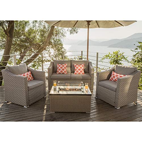 COSIEST 4-Piece Fire Pit Table Outdoor Furniture, Warm Gray Wicker Conversation Set, 4 Coral Pillows w 32-inch Rectangle Wicker Fire Table (40,000BTU) Fits 20 gal Tank Outside w Glass Wind Guard
