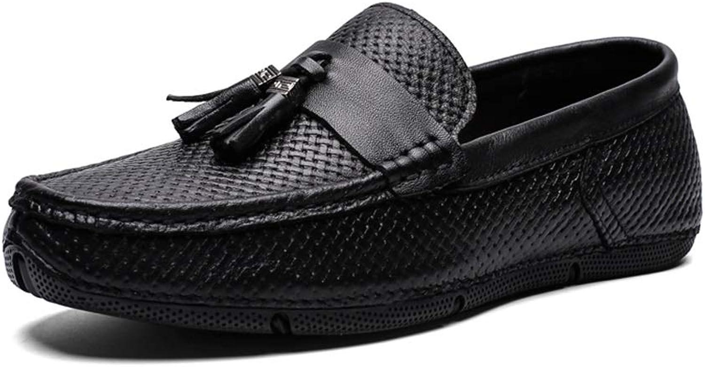 Jialun Schuhe, Bequeme Outdoor-Schuhe, für Herren, Stiefel, Mokassins, Schlupfstil, echtes Leder, Klassische Quaste, Handlichkeit, leichte Webstruktur, Schwarz - Schwarz - Gre  39 EU