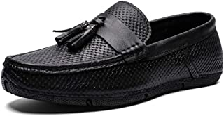Xujw-shoes, Mens Tassel Loafers Weave Texture for Men Driving Loafers Boat Moccasins Slip On PU Leather Classic Tassel Handiness Lightweight Wear-Resisting