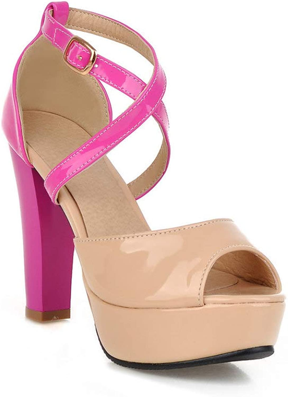 MEIZOKEN Women's Peep Toe Platform Sandal High Chunky Heels Crisscross Strappy Pump Party Heeled Sandals