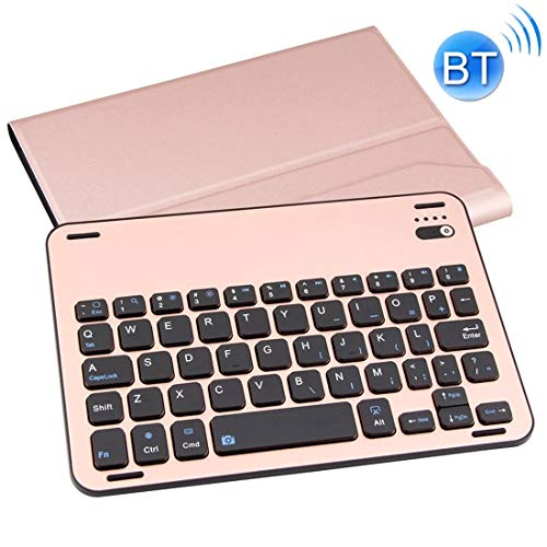 XUAILI Tablet Keyboard Case Lambskin Texture Detachable Aluminum Alloy Bluetooth Keyboard Leather Cover with Stand Function, for IPad Mini 3/2 / 1 (Color : Rose Gold)