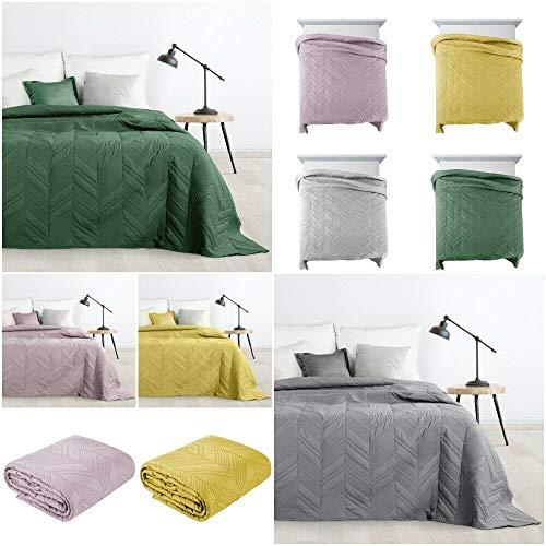 Design91 Tagesdecke Willy Gesteppter Bettüberwurf Einfarbig Steppung 3D Geometrisches Muster Ganzjährig (Grün, 170x210 cm)
