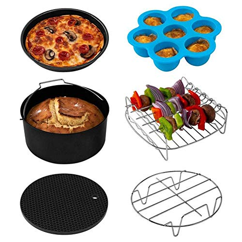 SHBV Air Fryer Accessories 13pcs Fryer Accessories suitable for Gowise Phillips USA Cozyna's Cestmall XL Air Fryer Accessories can accommodate all 3.2-5.8QT fryers and cake baskets pizza pans