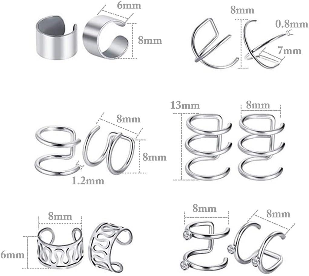 2021 New 6 Pairs Fashion Punk Rock Ear Clip Cuff Wrap Earrings No Piercing-Clip On Cartilage Wrap Earring Dropshipping