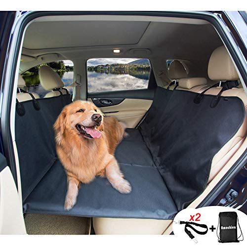 AMOCHIEN Backseat Extender for Dogs - Back Seat Pet Bridge, Dog Hammock Covers Entire Back Seat, Rear Pet Foam Platform Divider Barrier Water Resistant | Up to 100 lbs | Universal Fit Black