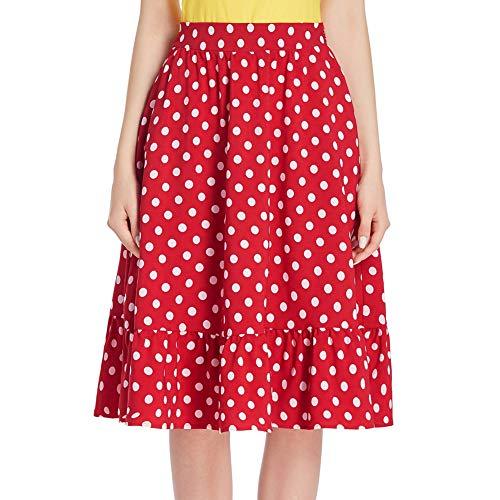 Belle Poque Mujeres Damas Estilo Retro Vintage 2 Bolsillos Laterales hasta la Rodilla Faldas de té Rojo # 2054 L