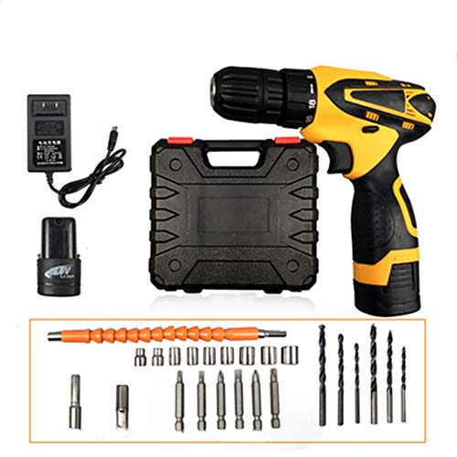 WZQ Household Electric Drill Black Battery Deck Cordless Charger Set Tool Electric Trimming Power Box Driver Portable Set Metal Trading Mini Screw Wireless