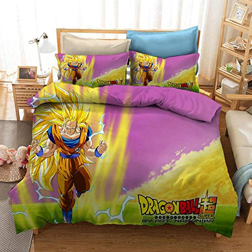 Juego de cama con funda nórdica de cómics para niños 3D Dragon Ball, cama individual, cama doble, suave y cómoda funda de edredón niño adolescente funda de almohada ropa de cama-K_210x210cm (3pcs)