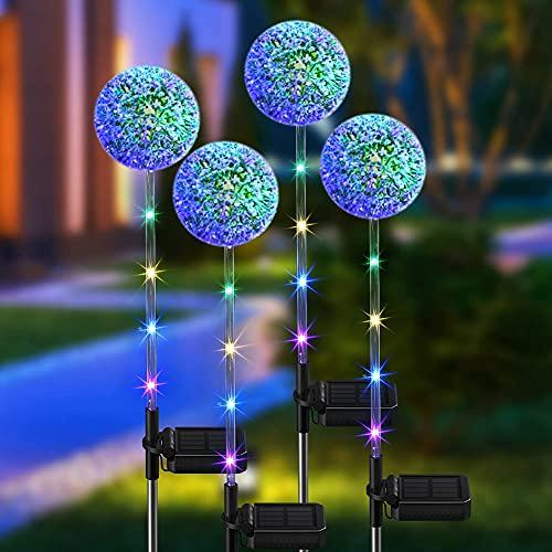 2 luces solares para jardín al aire libre, decoración de jardín, lámpara de estacas de césped con LED, luces solares de diente de león para jardín, patio, flores, fiestas