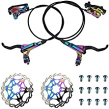 AKANTOR Zoom Hydraulic Disc Brakes Mountain Bike Sets MTB Front & Rear Set with Floating Disc Rotor 160mm & Color Bolts (Multi-Color)