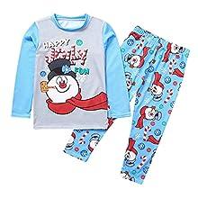 KMKM Conjunto de ropa para bebé de Navidad con jerséis, pijamas, conjuntos de ropa para la familia y niños, camiseta y pantalones, ropa de dormir, Azul-a, XXL