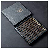 丸い木製の箸プレミアム再利用可能なプレミアムギフト、中国韓国語日本語箸天然木箸のギフトボックス、金属製の箸の頭、10ペア-A