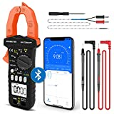 Digital Clamp Multimeter, AC DC Volt Amp Ohm Meter with Bluetooth APP, Intelligent DMM AN-7200APP Tester for Voltage Current Resistance Capacitance Hz Temp Diode Continuity Buzzer with Lamp