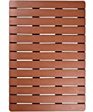 I FRMMY Premium Large Bath Tub Shower Floor Mat Made of PS Wood- Suitable for Textured and Smooth Surface- Non Slip Bathroom Mat with Drain Hole- 20 x 28.5 inch (Teak Color)