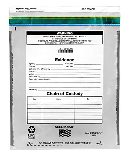 100pk Evidence Bags, 19″ x 24″ – Premium, Level 4 Security Tamper Evident Bags – Self Sealing, Transparent 2.5 Mil Coextruded Polyethylene – SECUR-PAK