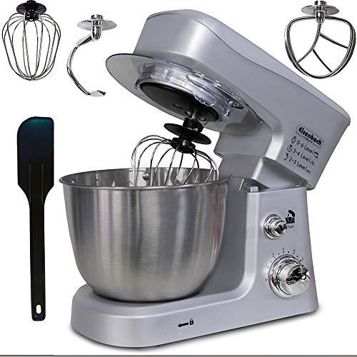 Eisenbach 3,5L Teigmaschine Küchenmaschine Knetmaschine Rührmaschine Standmixer Mixer (3,5 Liter Silber)