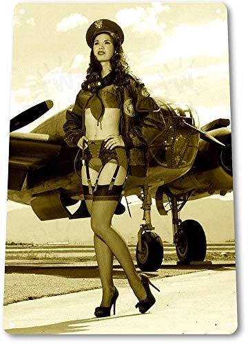 SIGNCHAT Cartel de Lata con Texto en inglés Tin Sign B113 Bomb Dropper Hot Pin-Up Girl Aviation WW2 Historic Metal Decor Metal Tin Sign 8 x 12 Pulgadas