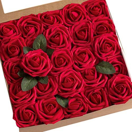 Msrlassn Rosa Rosse Artificiali, Fiori Artificiali Schiuma Teste di Rose Finti per DIY Matrimoni Mazzi Nuziale Festa Casa Decorazioni (Vino Rosso, 25 pz)