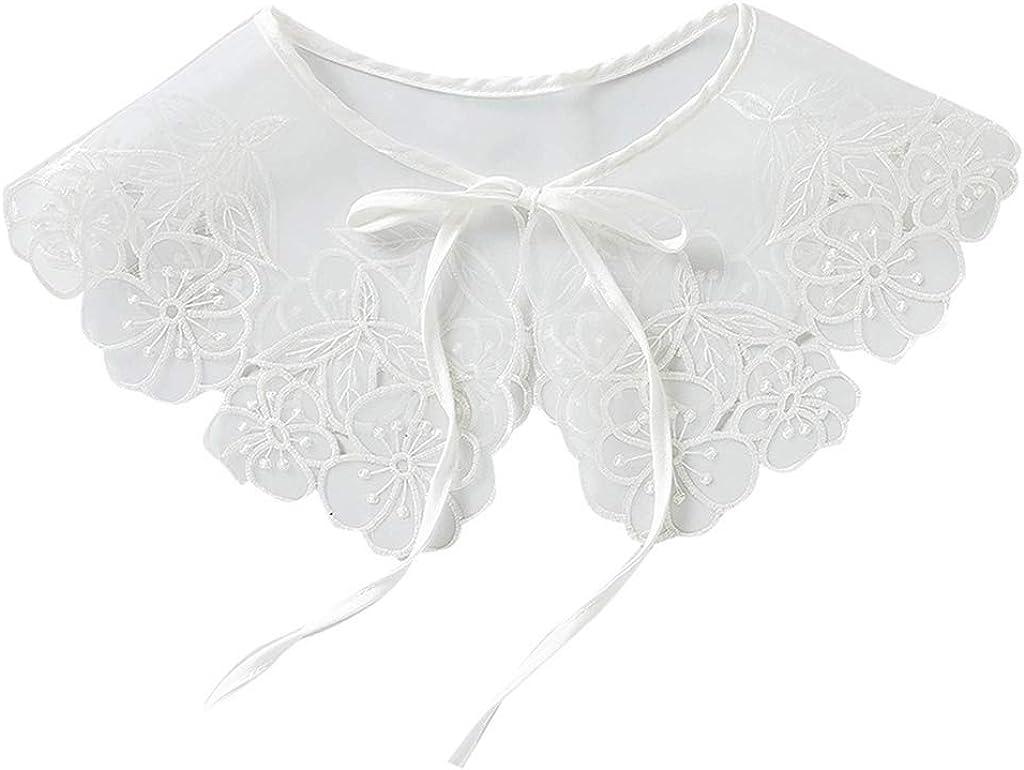 YOUSIKE Neck Chain, European Style Women Girls Chiffon Lace Fake False Collar Decorative Double Layer Floral Embroidery Choker Blouse Shawl Bowtie