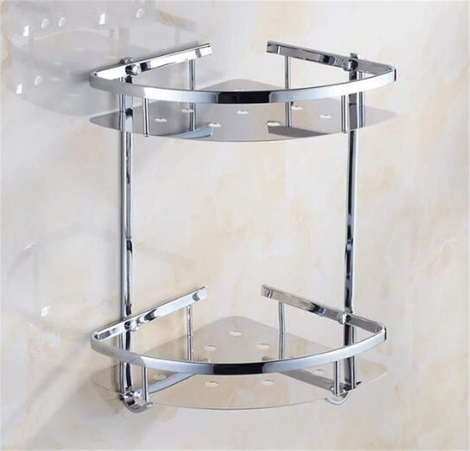 LUDSUY Antique Style Stainless Steel 304 Multifunctional Sturdy Corner Bathroom Shelf Modern Wall Shelf Bathroom Rack Accessories,D