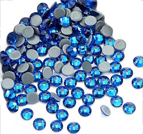 Jollin Flatback Strass Vetro Cristallo Artificiale Gemme Strass Termoadesivi Hotfix 4mm(16ss, 576pcs, Capri Blue)