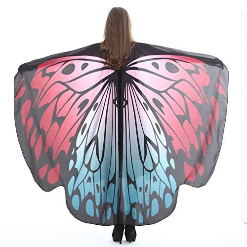EDOTON Schmetterlingsflügel für Frauen, Nymphe Pixie Kostüm Zubehör Schals Party Cosplay Tanzkostüm (A_ Weinrot)