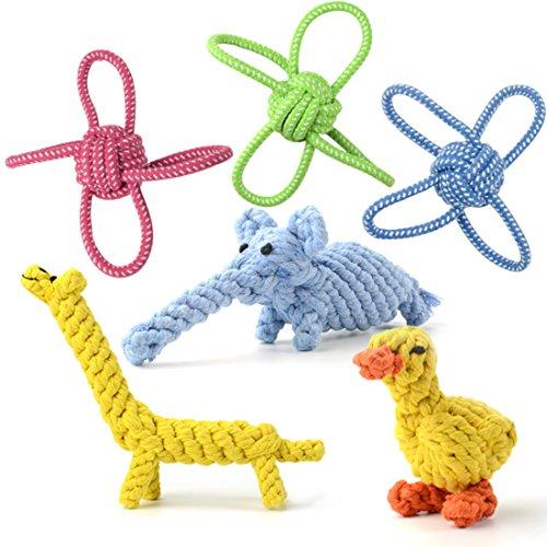Whoobee 犬おもちゃ 6個セット ロープおもちゃ インタラクティブトイ/清潔 噛むおもちゃ 可愛い動物型