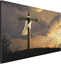 LACOFFIO John 3:16 Wooden Art Décor Plaque – Religious Christian Bible Verse with Neat Wood Cross Background – Handcrafted by The Amish in USA from Real Pine Wood, 18 x 12 Inches