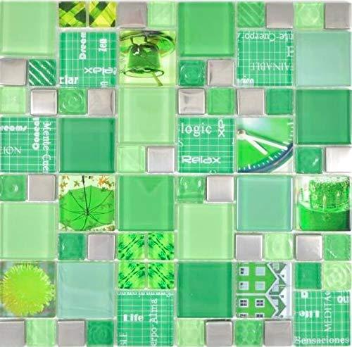 Transparentes Crystal Mosaik Glasmosaik silber grün Wand Küche Dusche Bad Fliesenspiegel WB88-0517 1Matte