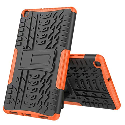 Nieuwe Tablet Case voor Samsung Tab ONE 8.0 inch 2019 T290 T295 T297 Back Cover 2 in 1 Silicon zachte harde Stand Armor Heavy Rugged case ORANJE