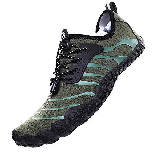 Rokiemen Chaussure Aquatique Homme Femme Chaussures de Plage Antidérapant Séchage Rapide Yoga Plongée Surf Piscine Chaussures de Sport 1-Vert 43 EU