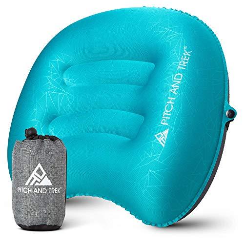 Pitch and Trek Almohada de viaje inflable portátil,compacta y compresible,soporte para cuello y lumbar para mochilero y senderismo Azul